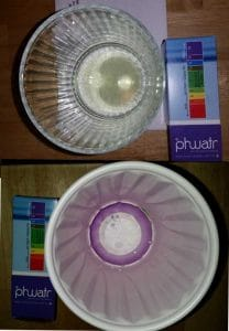 tap water before phwatr (neutral ph) compared to water using phwatr (alkaline water)