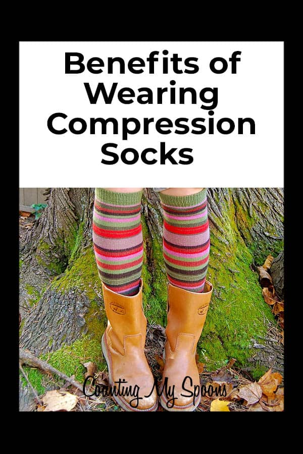 The benefits of wearing compression socks (image of long socks in boots) Counting My Spoons