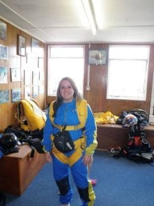 Samantha suited up to skydive