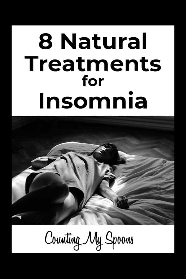 8 Natural treatments for insomnia (image of woman awake in bed) Counting My Spoons