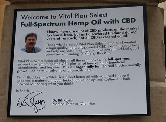 Letter from Dr. Bill Rawls of Vital Plan Select, included with order